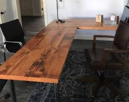 office wood table. L-shaped Desk. Reclaimed Wood And Steel Industrial Desk Office Table