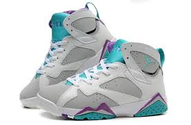 air jordan shoes for girls grey. air jordan 7 retro girls neutral grey/mineral blue-bright violet-white, shoes for grey