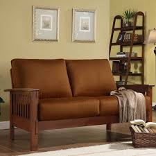 Mission Style Living Room Furniture Oxford Creek Marlin Mission Inspired Loveseat In Rust Microfiber