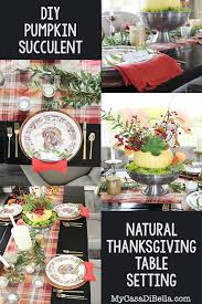 Natural Thanksgiving Table Setting Pumpkin Succulent Pin My
