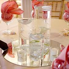 round edge glass mirror circles for table centerpiece reflective wedding banquet framing arrangements home decoration