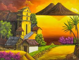 sunset over lake atitlan signed painting limited edition san antonio palopo iii novica