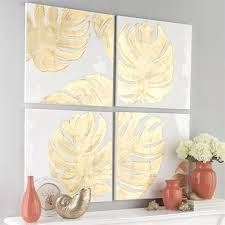 monstera leaf canvas wall art white set of four on leaf wall art set with gold monstera leaf 4 pc canvas wall art set
