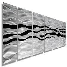 Modern Abstract Black Silver Contemporary Metal Wall Art Home Decor