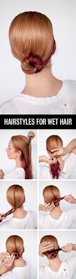 Self Hair Style get ready fast with 7 easy hairstyle tutorials for wet hair hair 7484 by wearticles.com