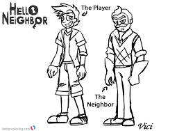 Hello Neighbor Coloring Pages Player And Neighbor Free Printable