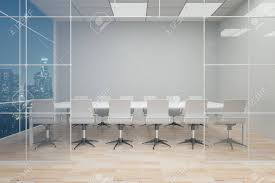 modern wooden chair front view. Front View Of Modern Conference Room With Blank Grey Wall, Wooden Floor And Night City Chair