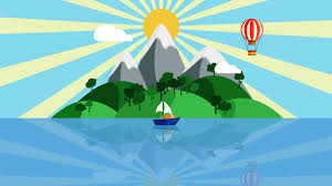 Tropical Island Yacht Colorful Cartoon Boat Sailing Slowly In The Ocean With Small