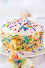 Funfetti Cake With Funfetti Frosting Confetti Cake Averiecookscom