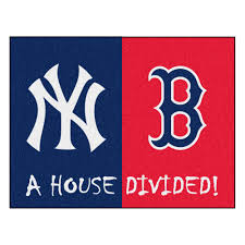 fanmats mlb yankees red sox house divided navy blue 3 ft x 4 ft area rug 12252 the home depot