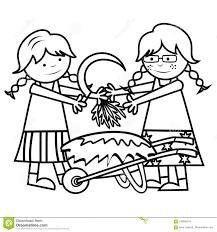Bambini E Lavoro Del Giardino Illustrazione Vettoriale