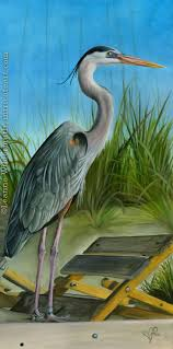 great blue heron wildlife bird painting original oil realistic traditional fine artwork