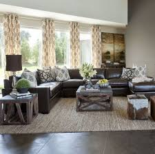 living room ideas leather furniture. sectional in center instead of against the walls dark couch and neutral curtains living room ideas leather furniture i
