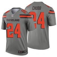 Chubb Jersey Men's Legend Nick Inverted 24 Browns Cleveland Gray