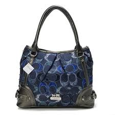 Coach Poppy In Signature Medium Navy Totes AEH