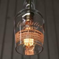 old weller antique bottle pendant light upcycled industrial glass ceiling light bourbon bottle light fixture whiskey pendant lamp
