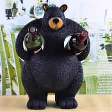 Decorative Wine Bottle Holders resin animal creative wine bottle holder cute black bear shaped 32