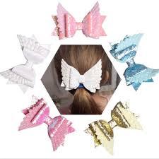 senarai harga new 2019 glitter fly angle wings synthetic leather hair bows cute kids hair clips girls hairpins barrettes headwear headdress terbaru di