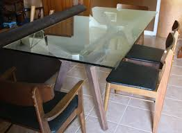 Round Smoked Glass Dining Table Table Round Glass Dining With Wooden Base Craftsman Exterior