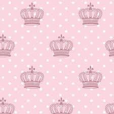papel de parede infantil rosa poá e coroas