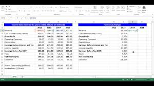 excel income statement horizontal analysis for income statement items using excel youtube