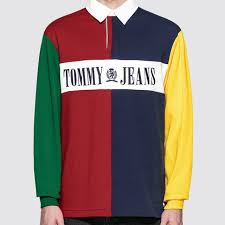 original tommy jeans 90s colorblock rugby shirt at indonesia