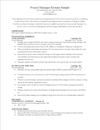 Resume Project Manager Templates At Allbusinesstemplates