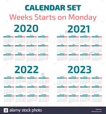 Calander Years Simple 2020 2023 Years Calendar Week Starts On Monday Stock