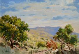 western landscape 1947 oil the specific location is unknown but it could be a scene in west texas new mexico or arizona painted during one of