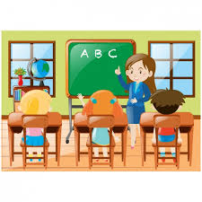 classroom table vector. kids in class background classroom table vector