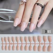 Nail Designs Light Colors Us 0 81 21 Off Pure Colour New Ballerina False Nails Designs Light Pink Fashion Nude Color Nail Flat Tips Decorating Coffin Fake Nail 24pcs B01 In
