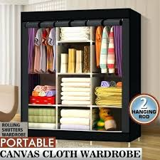 wardrobe clothes organiser triple fabric canvas wardrobe clothes storage organiser cabinet cupboard shelves wardrobe closet organizer