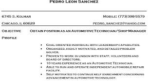 Sample Resume For Automotive Technician Mechanic Resume Sample Yomm