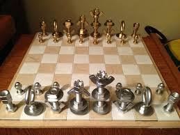 Nuts and Bolts Chess Set: Homemade Christmas Gifts | Chess, Chess ...