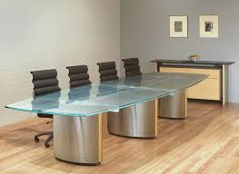 glass office tables. Large Glass Conference Table With Ash Coves, Stainless Steel Pedestals And A Patterned Scratched Office Tables R