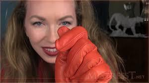 Leather glove handjob fetish