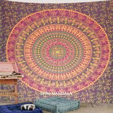 maroon yellow lady elephant bohemian mandala tapestry wall hanging