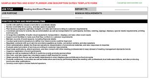 Duties Of An Event Planner Meeting And Event Planner Job Description Duties