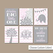 girl wall art canvas or prints elephant monogram initials baby g on personalized wall canvas baby with best personalized tree initials wall art products on wanelo