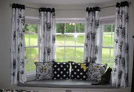 exterior homey by window design with attractive seating area design plus splendid window curtain ideas