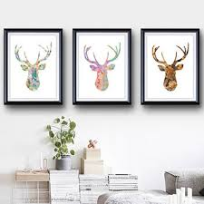 antler set of 3 stag blue deer print minimalist art silhou