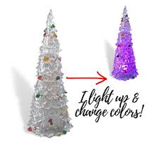 Christmas Tree With Changing Lights Acrylic Light Up Christmas Trees Set Of 2 Assorted Sized