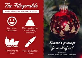 Business Christmas Card Template Red Ornament Year In Review Christmas Card Templates By Canva