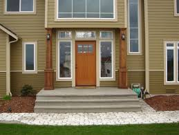 brown front doorFront Porch Nice Front Door Design Using White And Grey Painted
