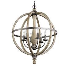 kichler evan 28 5 in 6 light distressed antique gray rustic hardwired globe chandelier