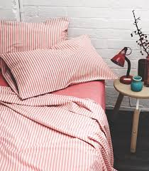 ticking stripe sheets from aura red
