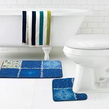 quilted natural collage blue bath mat contour rug set