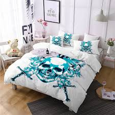 as105 a oath sword skeleton pattern decoration bedding set white double