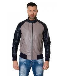 1066 greyblue colour leather er jacket smooth aspect
