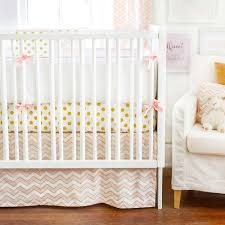 our gold rush pink and gold crib bedding is fun and modern polka dot print mixed with chevron creates a playful mix of fabrics